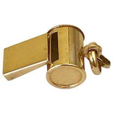 Working Whistle Vintage Charm 14K Gold Three-Dimensional circa 1950's