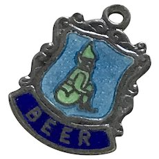 Beer / Elf Vintage Charm Sterling Silver Colorful Enamel