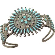 Native American Crafted Needlepoint Turquoise Cuff Bracelet