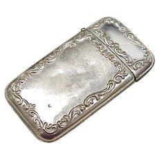 Edwardian Silver Plate Match Safe, Vesta
