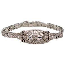 Art Deco Filigree Bracelet 14K White Gold Diamond & Sapphire 1932