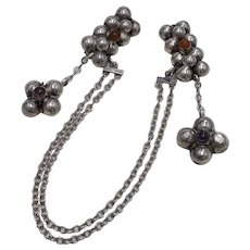 Vintage Sweater Pins With Festoon Chains Sterling Silver Amethyst & Carnelian
