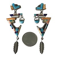 Native American Crafted Long Dangle Earrings Colorful Intarsia & Sterling Silver