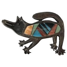 Navajo Coyote Rock Kritters Vintage Pin/Brooch Colorful Intarsia Inlay Sterling Silver