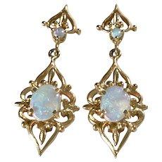 Ornate Opal Dangle Earrings 14K Gold