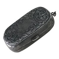 Victorian Coin Purse Sterling Silver for Chatelaine or Finger Ring
