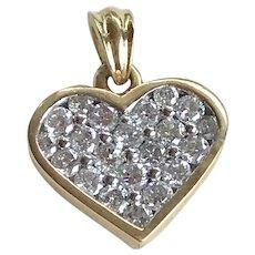 Diamond Encrusted Heart Pendant 14K Two-Tone Gold .63 ctw