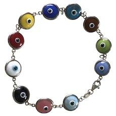 Colorful Glass Evil Eye Bracelet Sterling Silver, Good Luck & Protection
