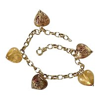 Colorful Venetian Glass Heart Charm Bracelet 14k Gold