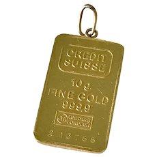 24K Fine Gold Bar Pamp Vintage Charm / Pendant, 10 Grams