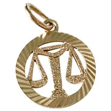 Libra Vintage Zodiac / Astrology Charm 14K Gold