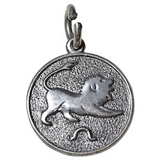 Leo the Lion Vintage Zodiac Charm Sterling Silver