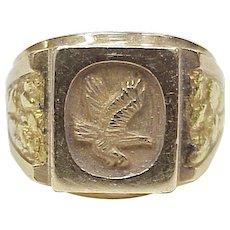 Handsome Gents Eagle Ring 14k Gold, 24k Gold Nugget Accent