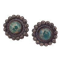 Native American Crafted Earrings, Screw Back Sterling Silver & Turquoise circa 1950-60's