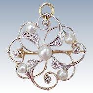 Edwardian Pendant / Brooch Platinum Top 14k Gold Natural Pearl & Diamond circa 1900-10