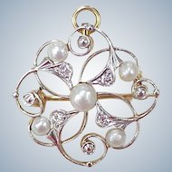 Edwardian Pendant / Brooch Platinum Top 14k Gold Natural Pearl & Diamond circa 1900-10