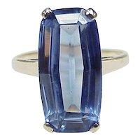 Vintage Large Fancy Cut Lab Sapphire Solitaire Ring 15.85 Carat, 10K Gold