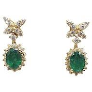 Elegant Emerald & Diamond Drop Earrings 2.36 Carat Total Gem Weight 14K Gold