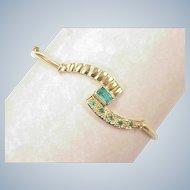 Natural Emerald .85 ctw 18k Gold Bangle Bracelet circa 1980's