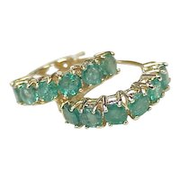 Vintage Natural Emerald 2.40 ctw Hoop Earrings  14k Gold circa 1970's