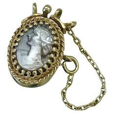 Cameo Clasp Slide 14K Gold For Add A Slide Bracelet, Victorian Revival