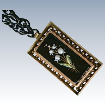 Victorian Lily of The Valley Pendant/Necklace Hand Painted Enamel on Onyx