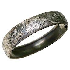 Edwardian Era Bangle Bracelet Sterling Silver Floral Engraved