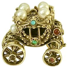 BIG Moving Jeweled Vintage Coronation Coach Charm 14K Gold Handcrafted circa 1950's