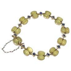 Heliodor & Ceylon Sapphire Vintage Bracelet 18K Gold 12.65 CTGW