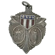 Military Catholic Medal Protective Amulet Sterling Silver Enameled 1940's