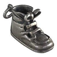 Vintage Three Dimensional Sterling Silver Napier Baby Shoe Charm - Circa 1950's