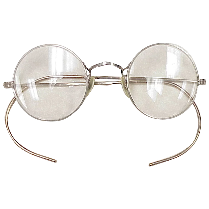 Cool Vintage Round Eyeglasses Spectacles Silver Tone Metal Circa A Charmed Life Ruby Lane
