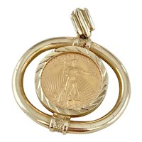 US Gold Coin Pendant $5 Eagle / Liberty in 14K Gold Frame