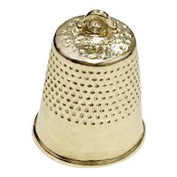 Sewing Thimble Vintage Charm 14K Gold Three-Dimensional
