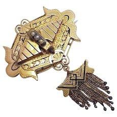 Victorian Tassel Brooch 14K Gold, Seed Pearl, Black Enamel