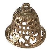 Moving Filigree Bell Vintage Charm 14K Gold Three-Dimensional circa 1950's