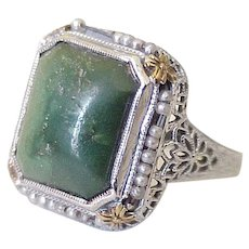 Vintage Filigree Ring Green Turquoise & Seed Pearl 14k White & Yellow Gold