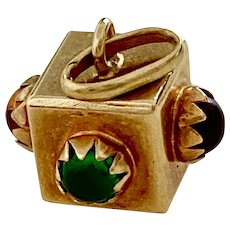 Jeweled Cube Vintage Charm 18K Gold Faux Emerald & Topaz