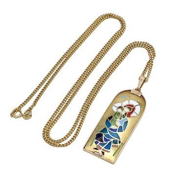 Plique A Jour Enamel Vintage Pendant & Chain 18K Gold, Madonna & Christ