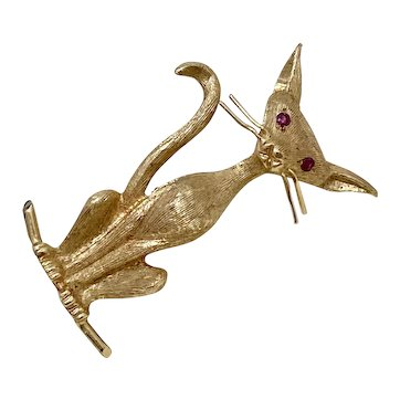 Siamese or Sphnyx Cat Brooch / Pin 14K Gold & Ruby Three-Dimensional