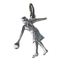 Bowling Woman Vintage Sports / Hobby Charm Sterling Silver