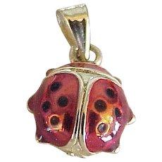 Lucky Ladybug Vintage Charm Pendant Colorful Enamel 14K Gold