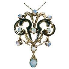 Opulent Victorian Revival Pedant 14K Gold, Opal, Seed Pearl & Black Enamel