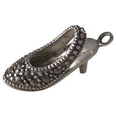 High Heel Shoe Vintage Charm Sterling Silver & Marcasite