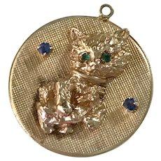 Jeweled Kitten Vintage Charm 14K Gold 1961 Romantic Engraved Reverse