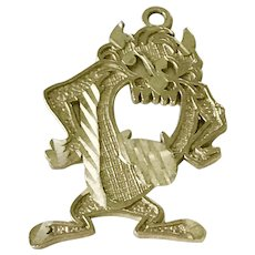 TAZ Vintage Charm 10K Gold Looney Tunes/Warner Brothers Character