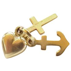 Faith Hope & Charity Charms Cross, Heart & Anchor 18K Gold Three-Dimensional