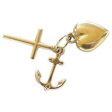 Faith Hope & Charity Charms Cross, Heart & Anchor 14K Gold Three-Dimensional