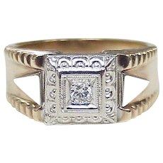 Retro Gents Diamond Ring 10k Rose & White Gold circa 1940-50's