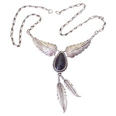 Native American Crafted Necklace Sterling Silver & Onyx, Feather Dangles